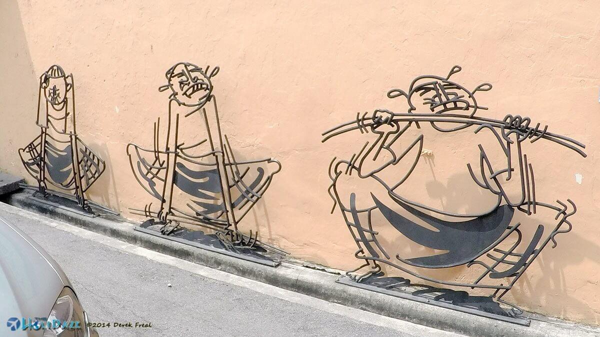 Metal wire street art in Penang, Malaysia
