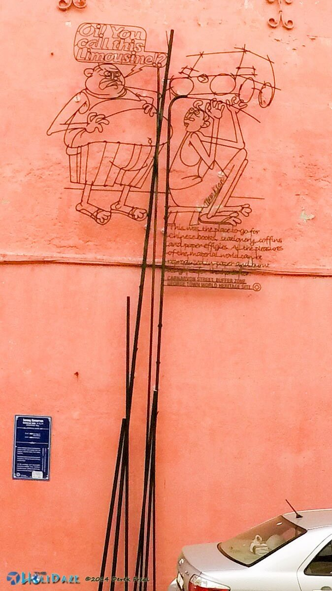Penang street art made from metal wire