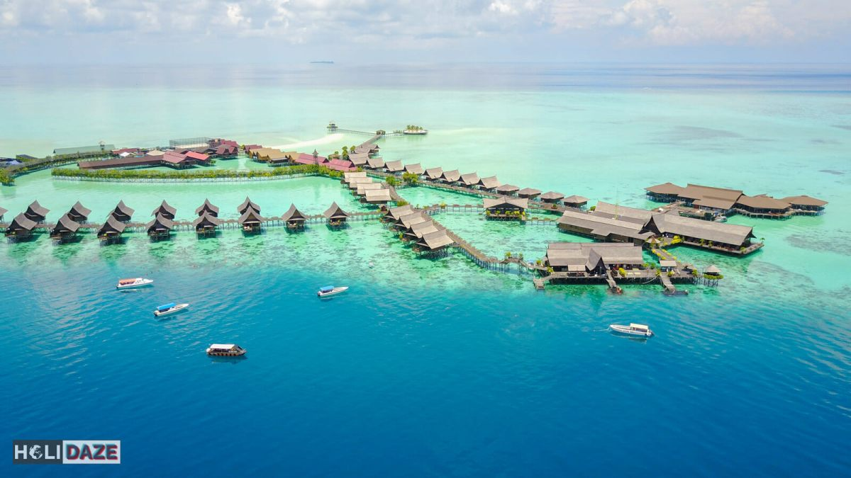 Aerial view of Sipadan-Kapalai Dive Resort off the coast of Semporna, Sabah -- a great place to scuba dive