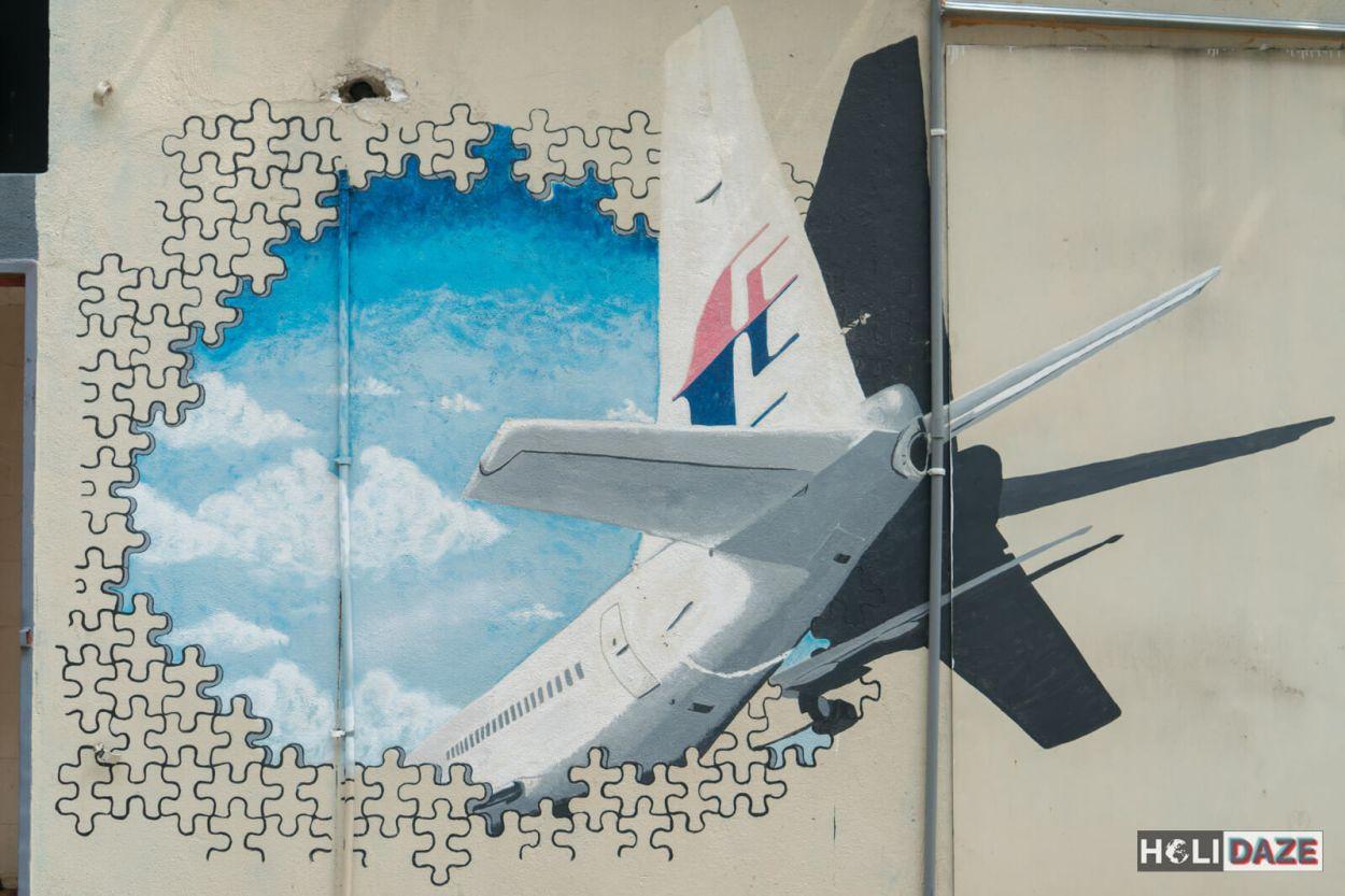 Shah Alam street art at Laman Seni 7 depicting the missing flight MH370