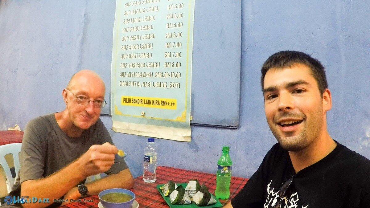 My buddy Graham and I indulging in sup torpedo in Chow Kit, Kuala Lumpur