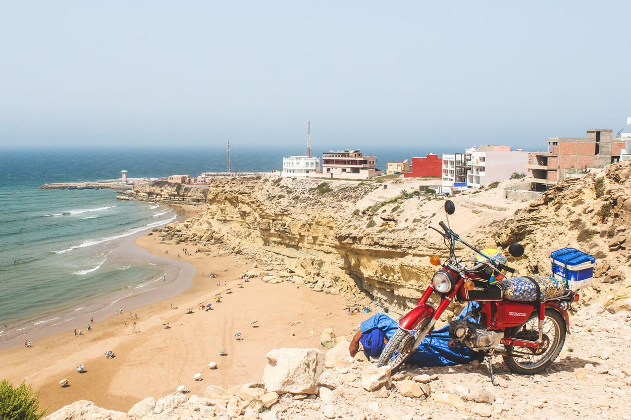Overlooking the small Moroccan beach town of Imsouane in Agadir-Ida Ou Tanane Prefecture, Souss-Massa, Morocco
