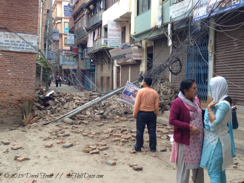 Kathmandu, Nepal after the earthquake. Wreckage everywhere.