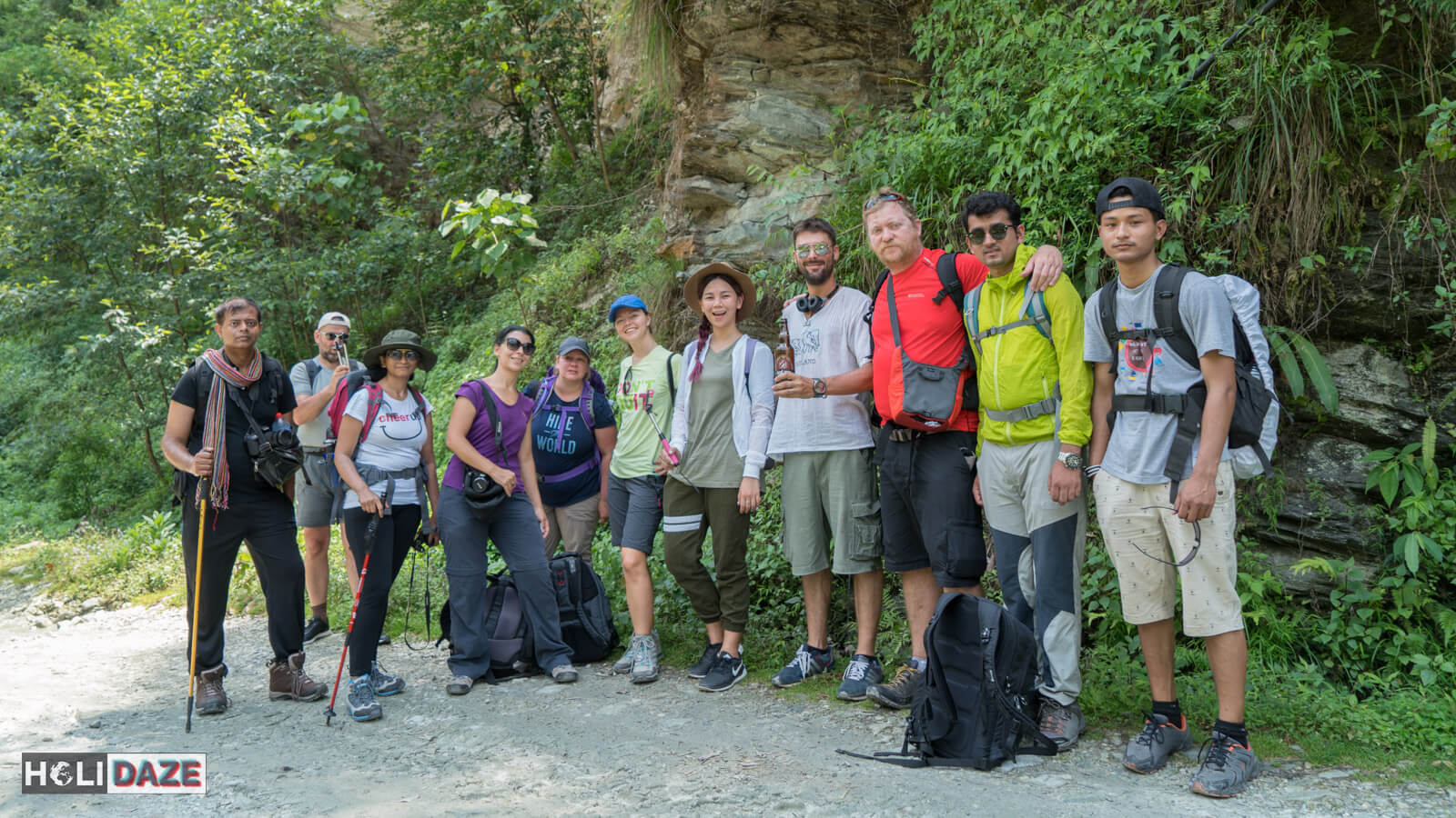 Our group photo before trekking Annapurna Sanctuary in Nepal