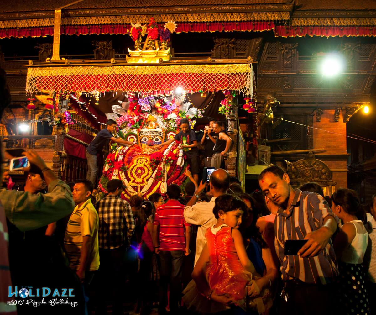 The Indra Jatra festival 2015 at night