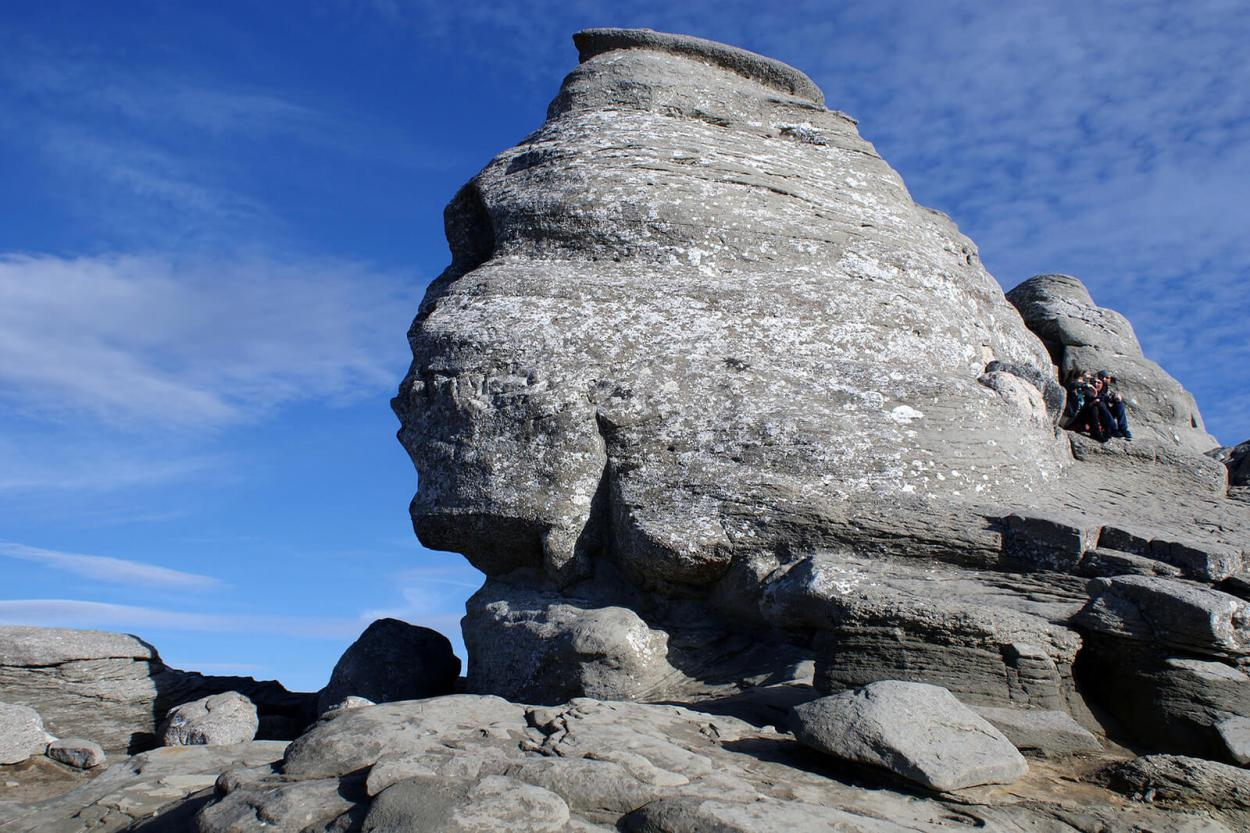 Located 2,200 metres up in the Bucegi Mountains, the Romanian Sphinx is a natural formation and not carved by humans