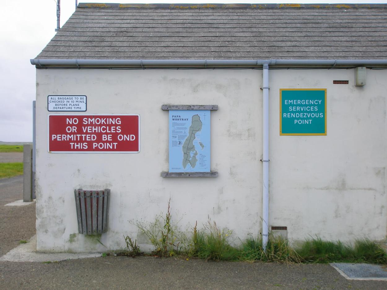 Westray Airport, home of the world's shortest flight.