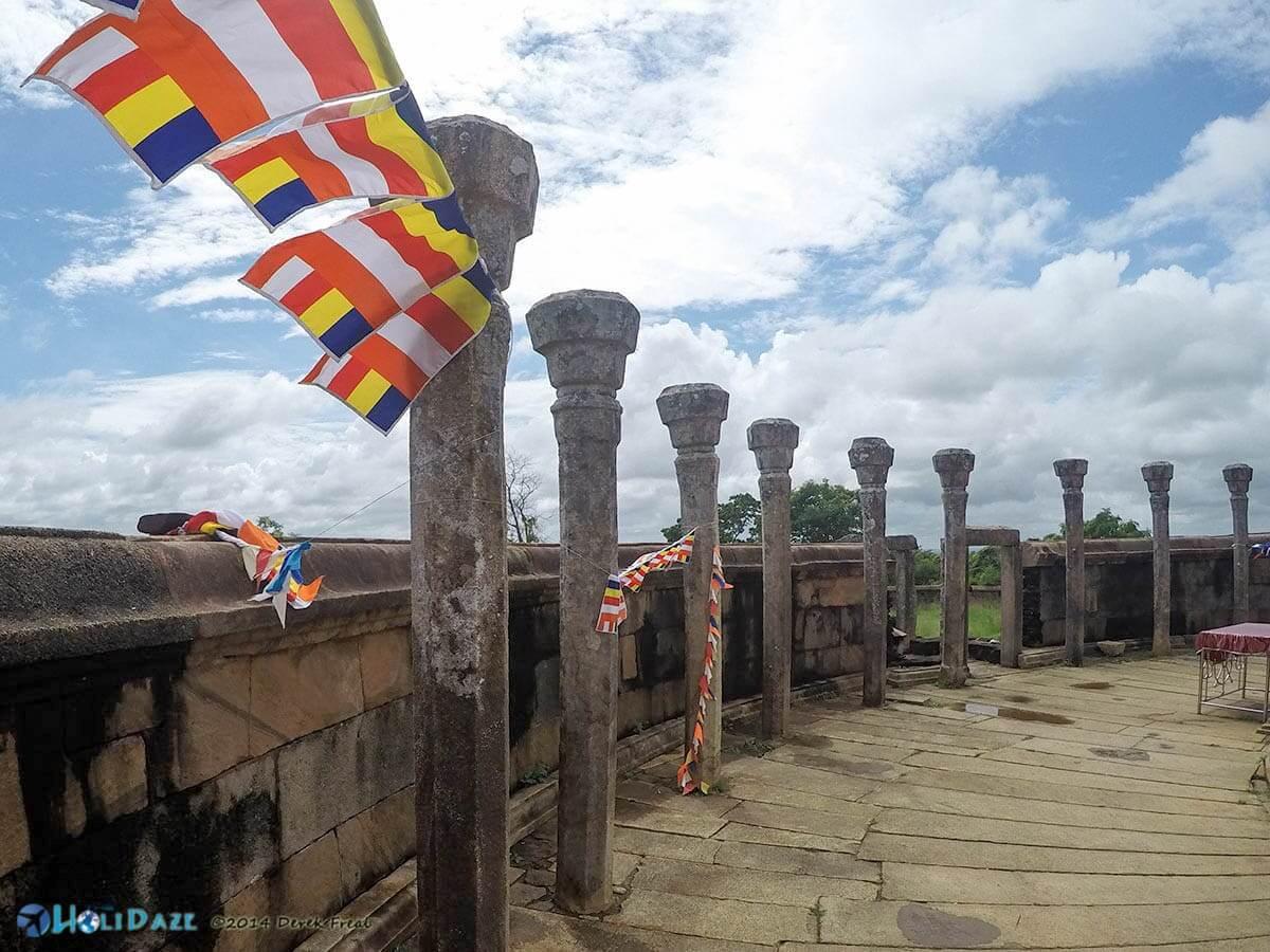 Flags at Girihadu Seya in Trincomalee, Sri Lanka