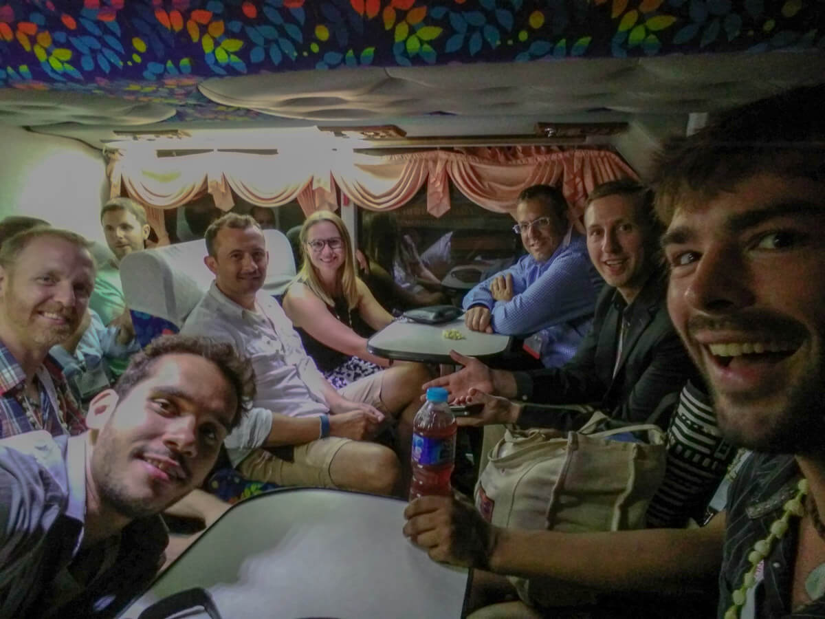 Travel bloggers riding in a Thai party bus to the ATRTCM 2016 conference