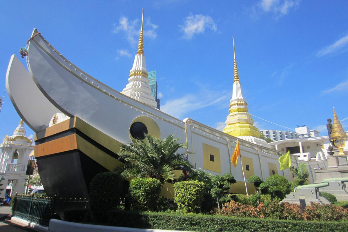 Wat Yannawa in Sathorn is a unique temple because of its boat-like design
