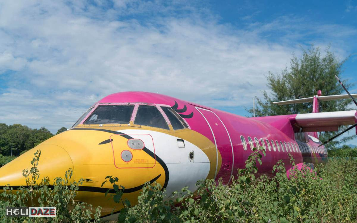 Found an abandoned airplane in the woods near Mae Rumphueng Beach in Rayong, Thailand. Still has its colorful Nok Air paint job.