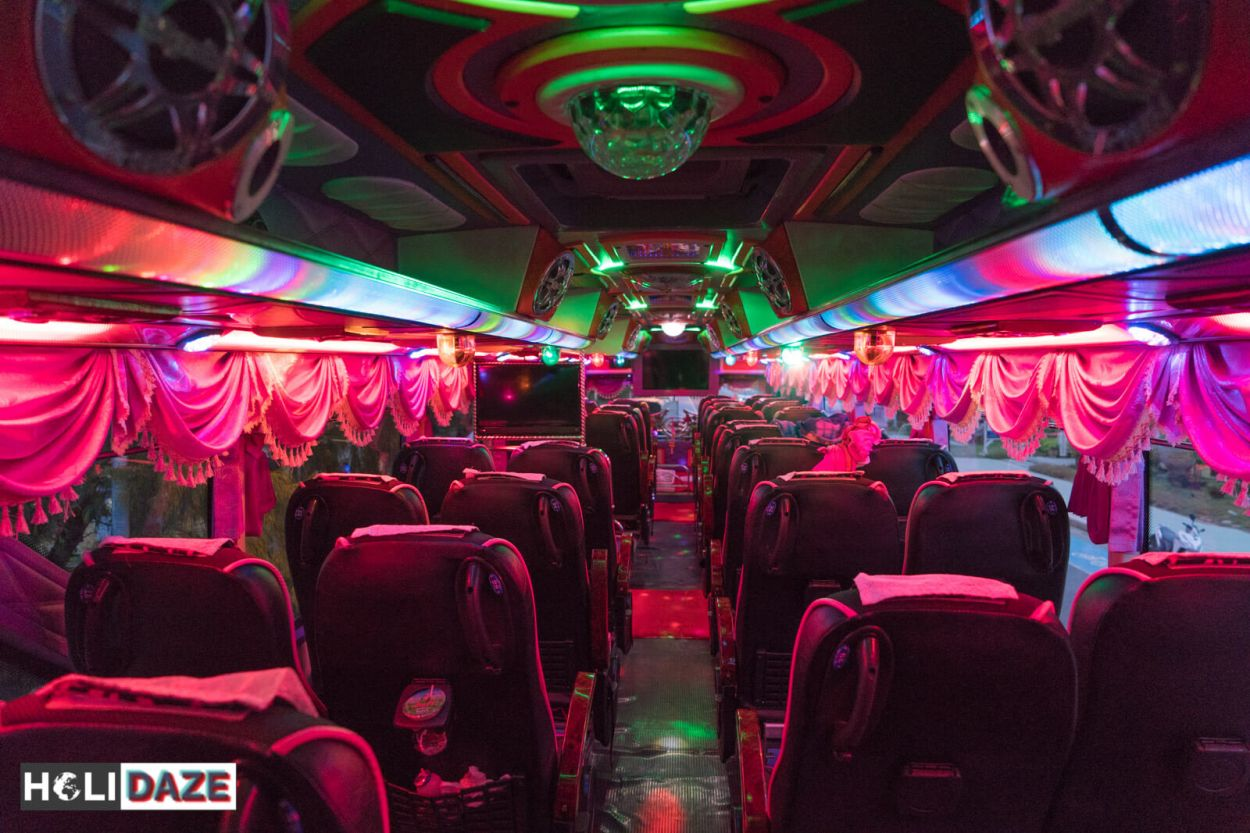 Thai buses comes loaded with neon lights -- it's like a disco on wheels!