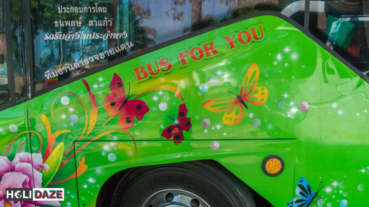 Buses in Thailand come standard with wild exterior artwork