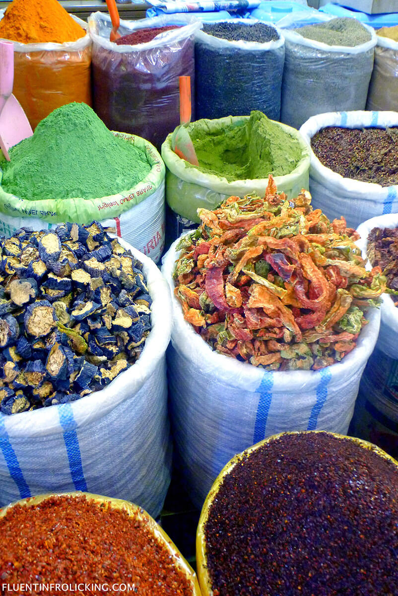 Spices at a market in Turkey