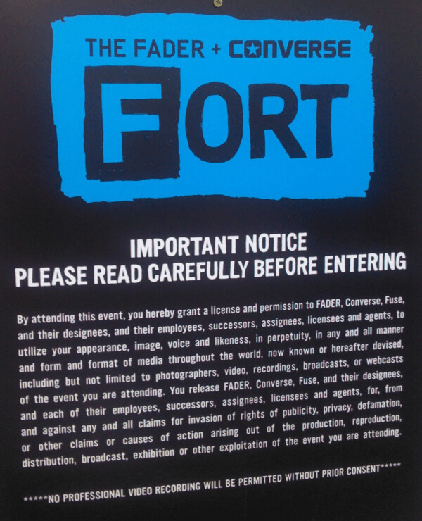 Entrance sign at the Fader Fort SXSW 2012
