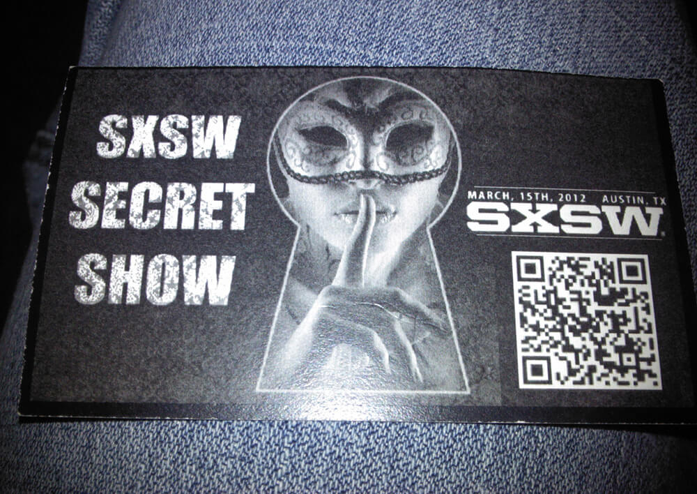 Invite to a secret party at SXSW 2012 in Austin, Texas