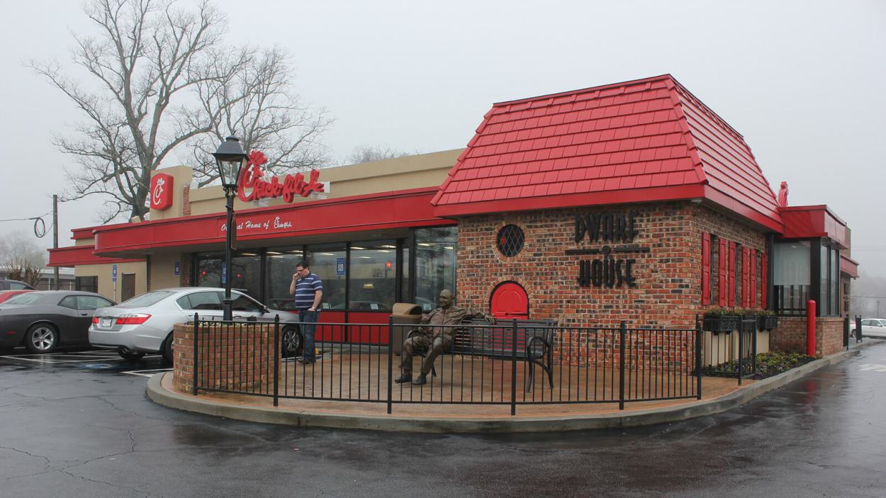 The original Chick-Fil-A Dwarf House in Hapeville, Georgia is the birthplace of Chick-Fil-A