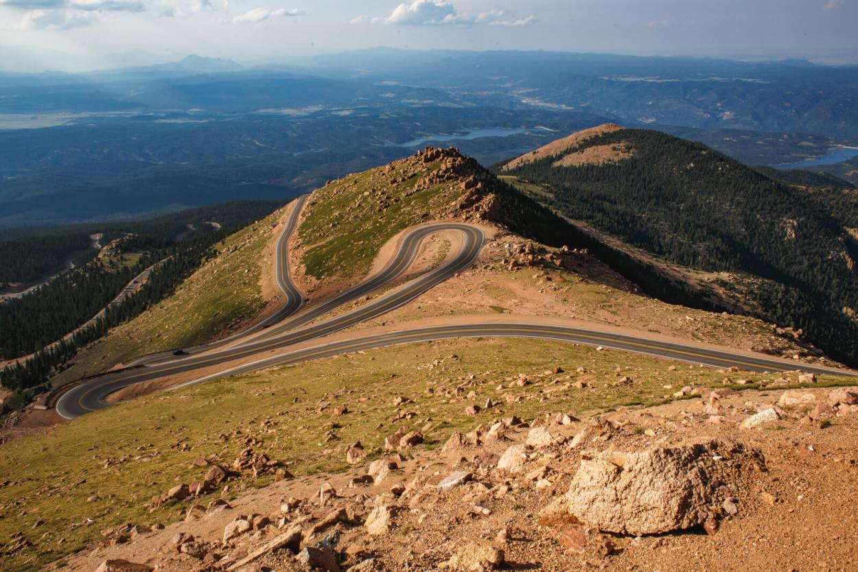 The winding road up to the summit of Pikes Peak, Colorado