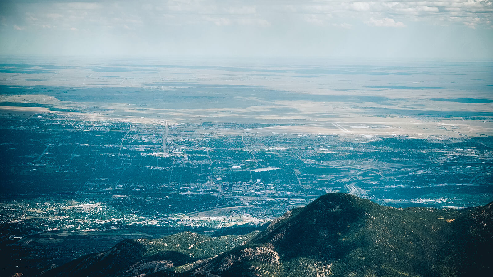 View from the summit of Pikes Peak in Colorado, over 14,000 feet above sea level