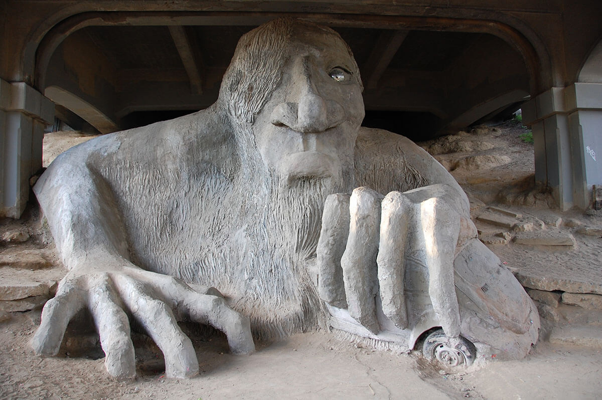 The Fremont Troll, just one of many strange, unique and offbeat Seattle sights and things to do