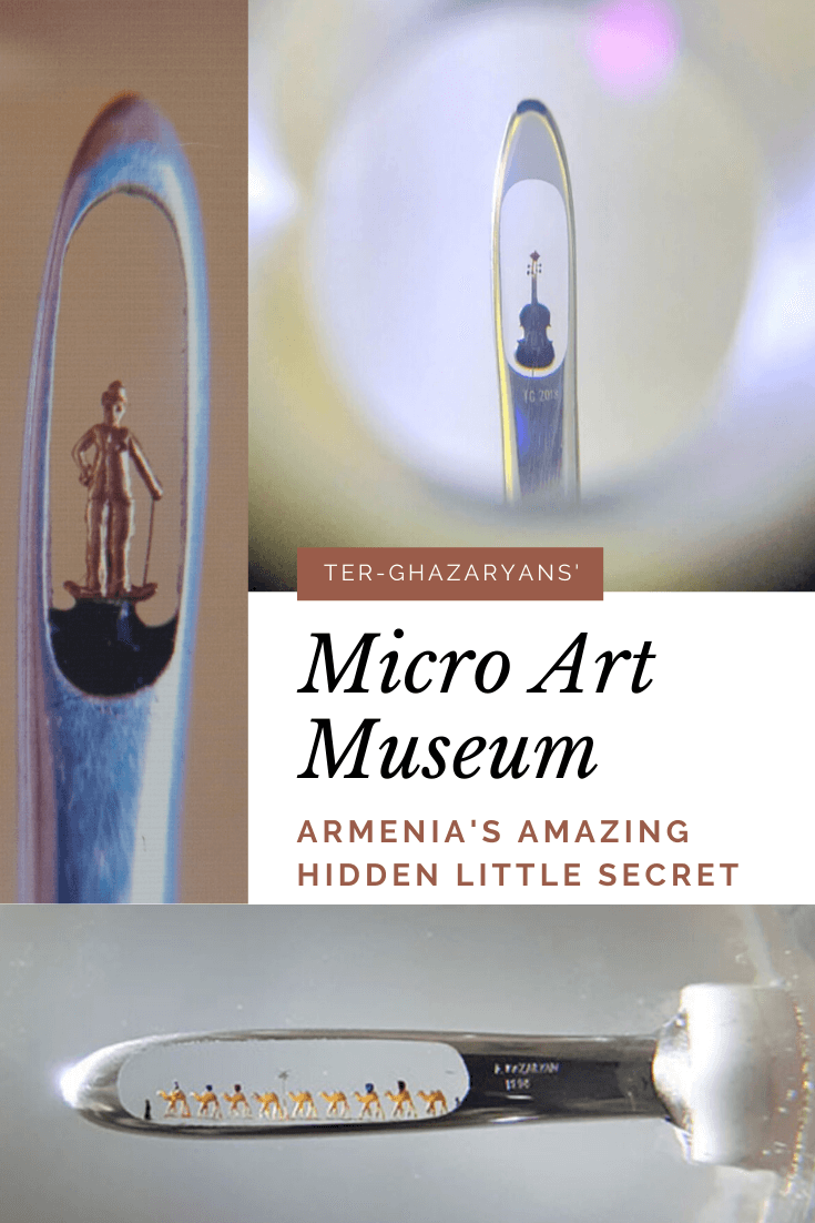 Exquisite artwork made of gold and precious stones so small they fit inside the eye of a needle....the Micro Art Museum is #Armenia's hidden little secret! #travel #travelguide #art #yerevan #unique #museum #holidaze #traveltips