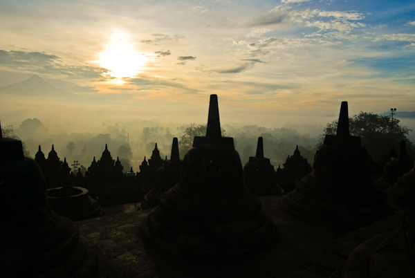 Sunrise In Borobudur, Indonesia