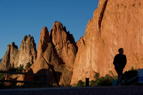 The day is late and the shadows are long but the sky is still blue and cloudless, making for great Garden Of The Gods photos