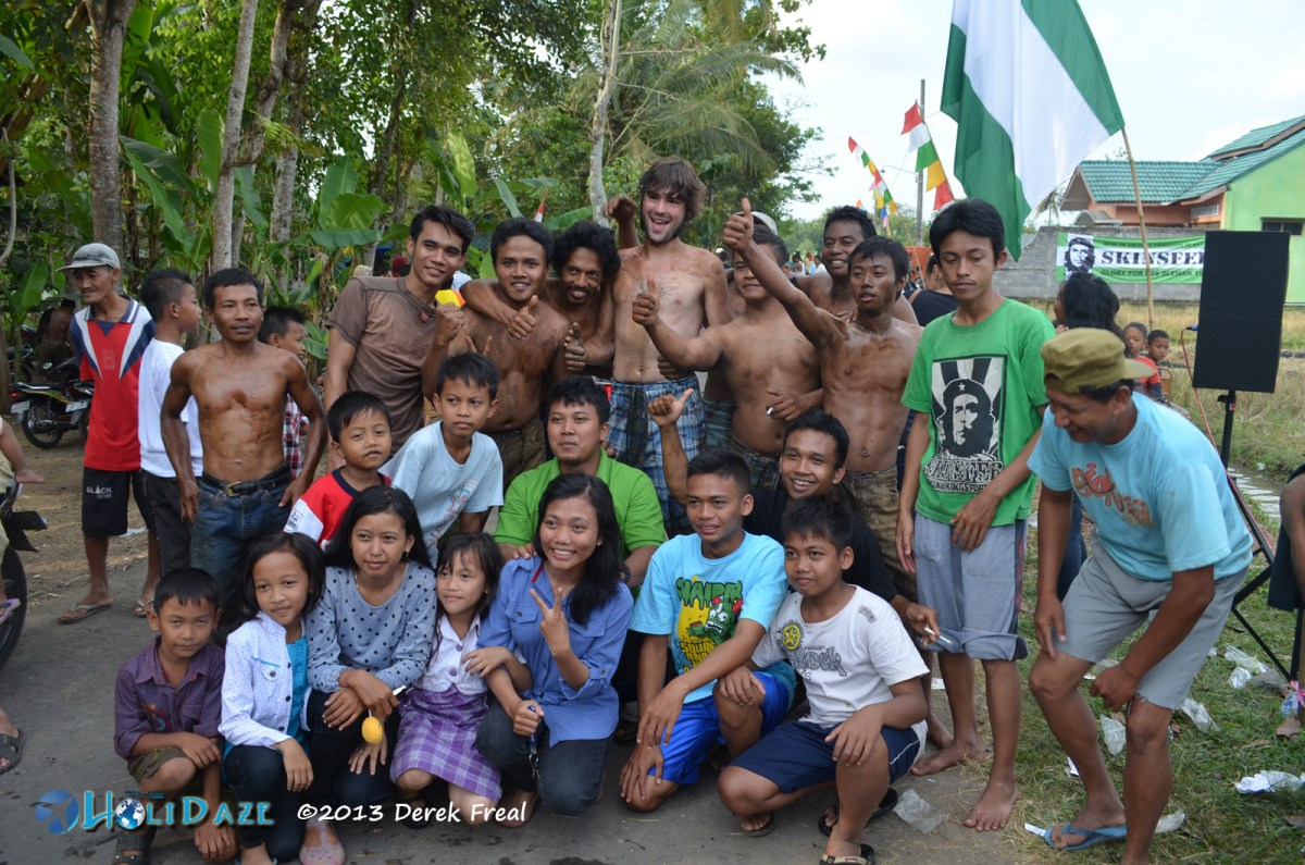 Making local friends in Minggir, a small village not far from Yogyakarta, Indonesia