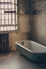 "Hydro ""therapy"" chamber in the hospital wing of Alcatraz prison in San Francisco Bay, California"