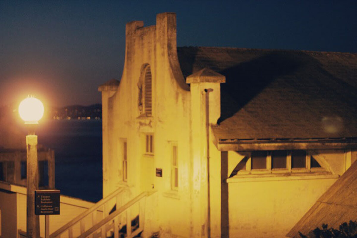 Wrapping up the Alcatraz night tour in San Francisco Bay, California, USA