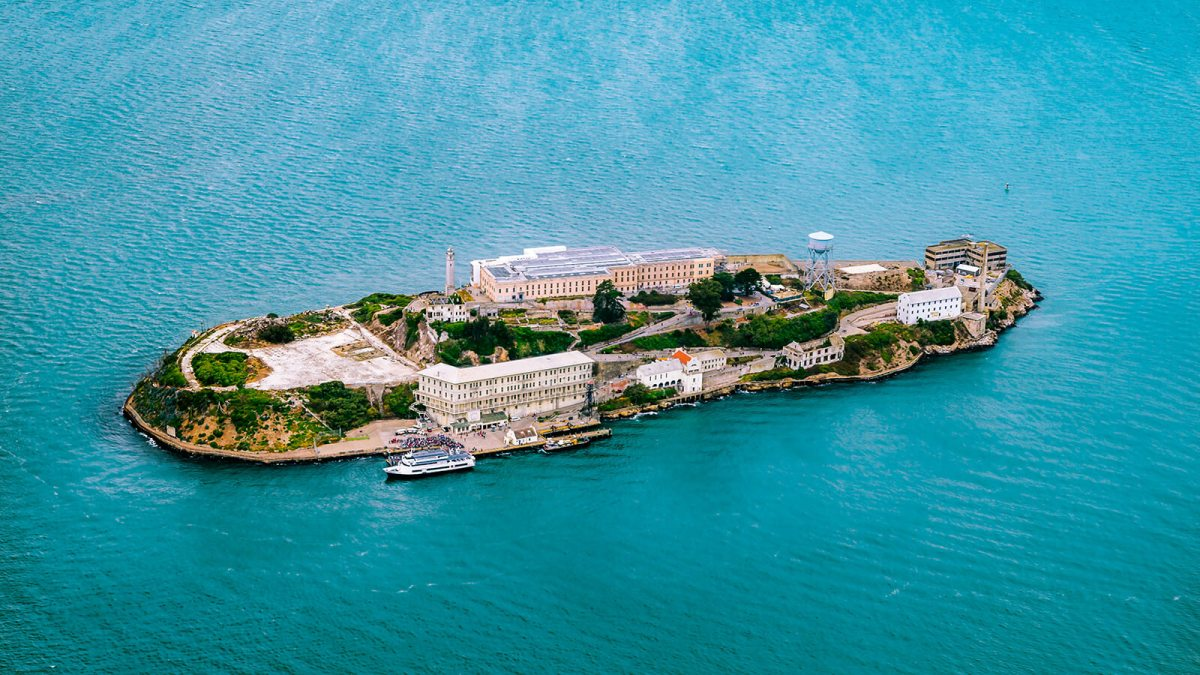 Aerial view of Alcatraz prison, AKA The Rock, in San Francisco Bay, California