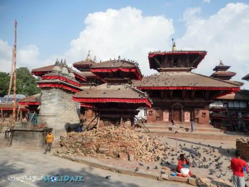 Lingering earthquake damage in Kathmandu Durbar Square