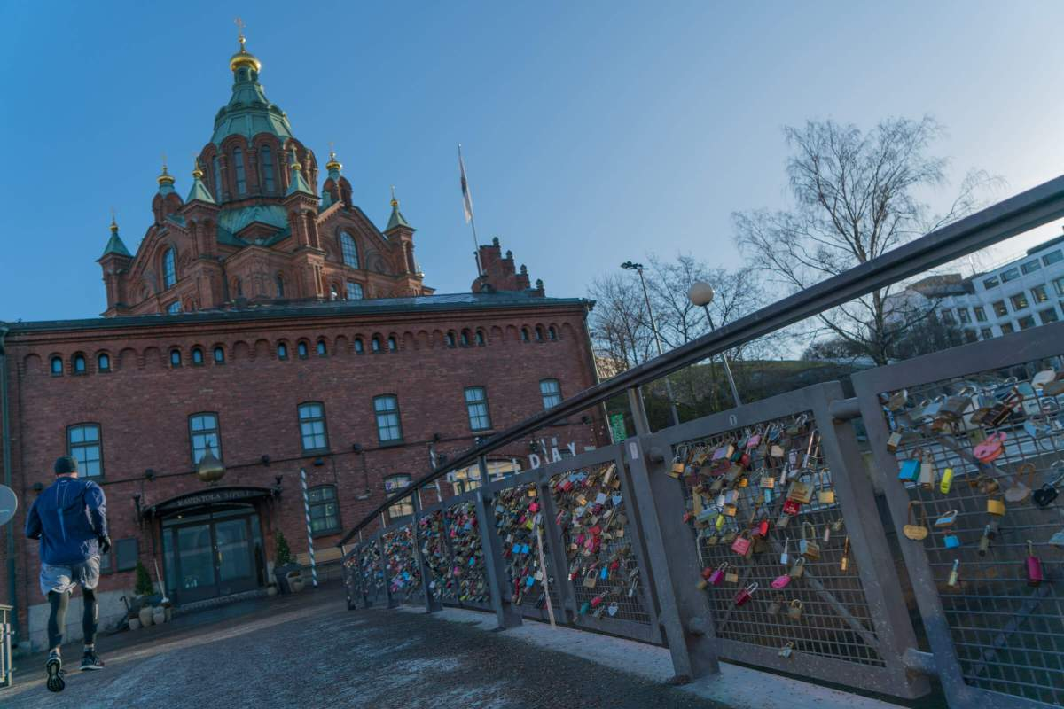 Helsinki love locks with Uspenski Cathedral in the background