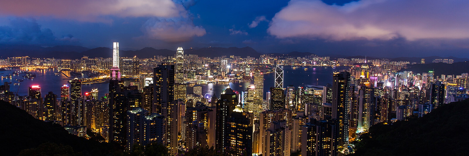 Breathtaking view of Hong Kong at night from The Peak