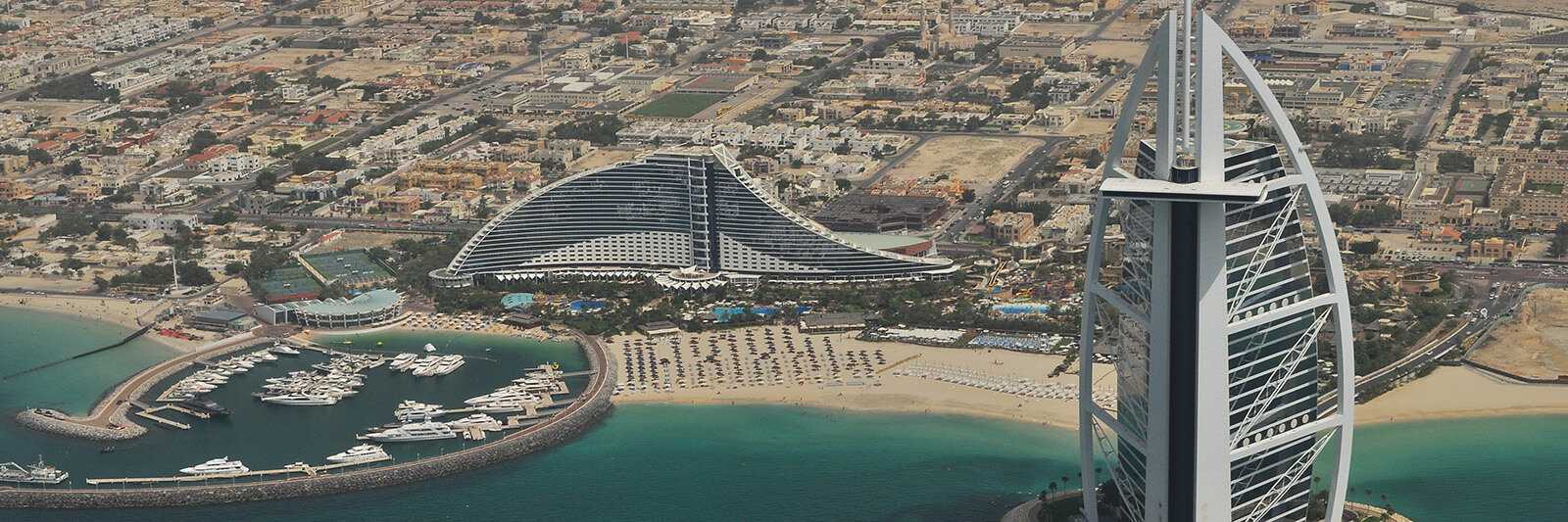 Aerial view of the Burj Al Arab Jumeirah in Dubai, United Arab Emirates