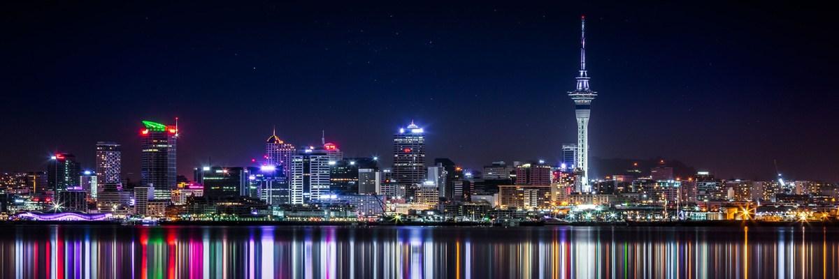 Auckland, New Zealand city centre skyline at night