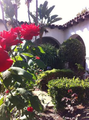 The flower garden at Mission San Diego de Alcalá in California