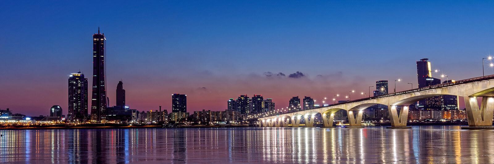 Seoul, South Korea skyline just after sunset