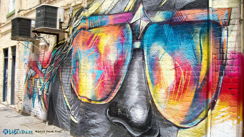 Rainbow sunglasses street art at Graffiti Alley, Toronto, Canada