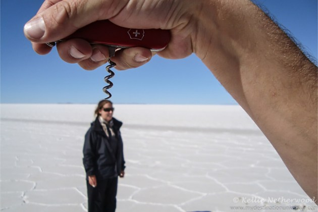 Experiment with illusions and perspective photography at Salar de Uyuni, Bolivia