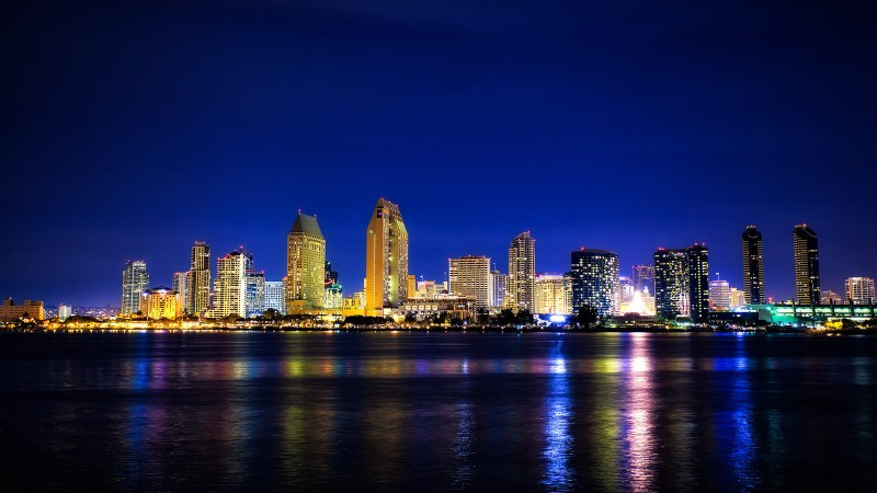 Night skyline of San Diego, California