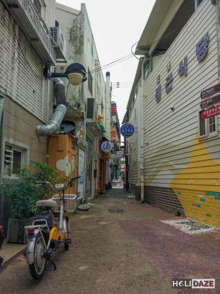 Narrow alley of artwork in Changdong Art Village, Masan, South Korea