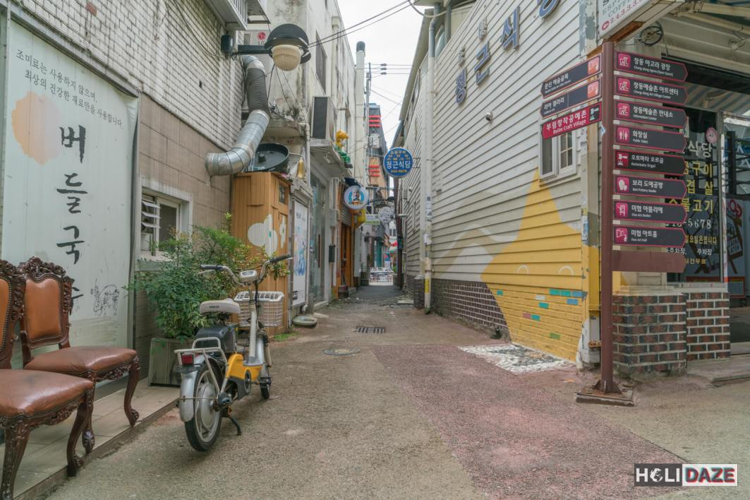 A quiet, picturesque alley inside of Changdong Art Village in Masan, South Korea