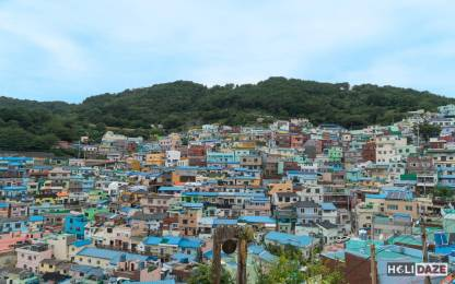 View of Gamcheon Culture Village in Busan, South Korea, from the scenic viewpoint near the bus stop