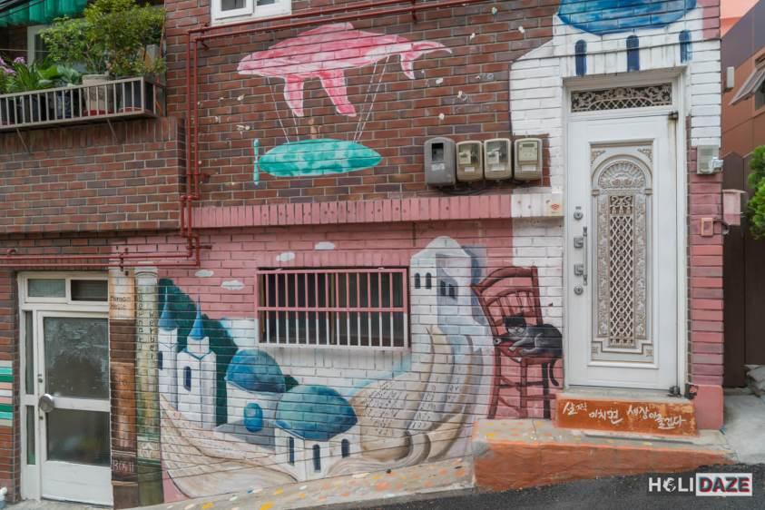 Street art found at Gamcheon Culture Village in Busan, South Korea