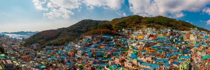 Panorama of Gamcheon Culture Village in Busan, South Korea