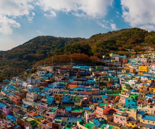 Panorama of Gamcheon Culture Village in Busan, South Korea