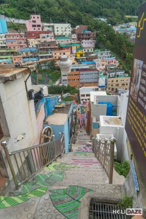 Looking down from the top of the Stairs To See Stars at Gamcheon Culture Village in Busan, South Korea