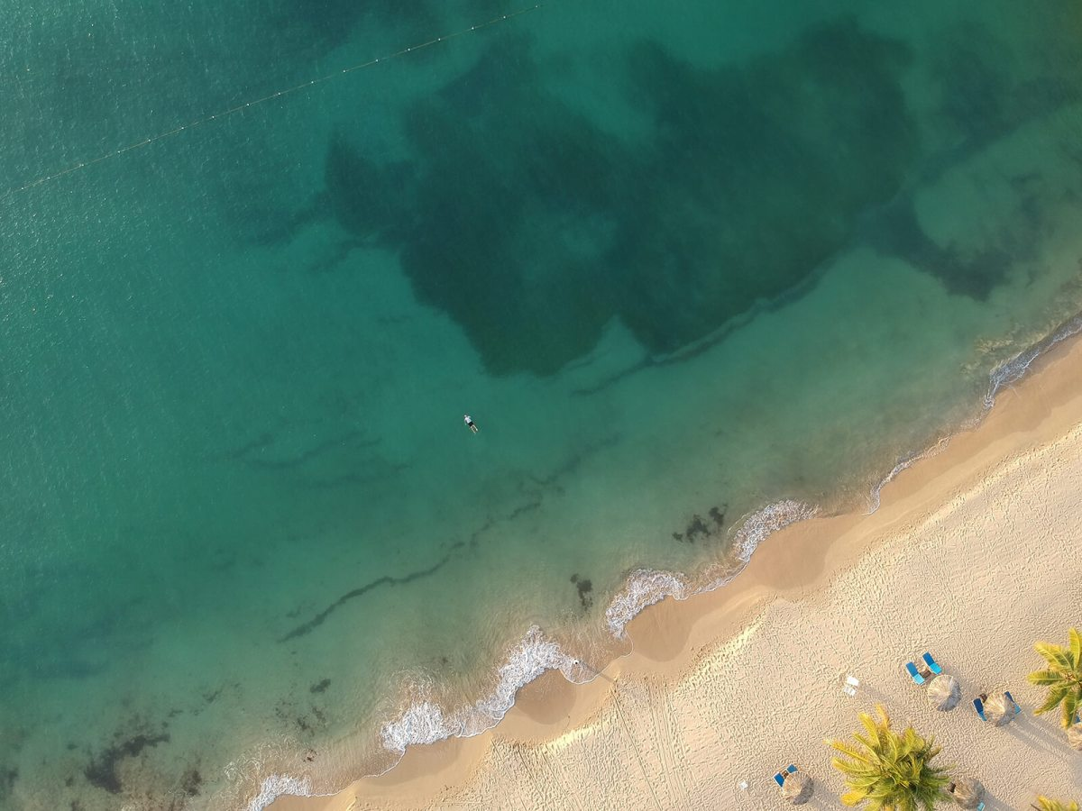 Aerial view of Ocho Rios beach, Jamaica