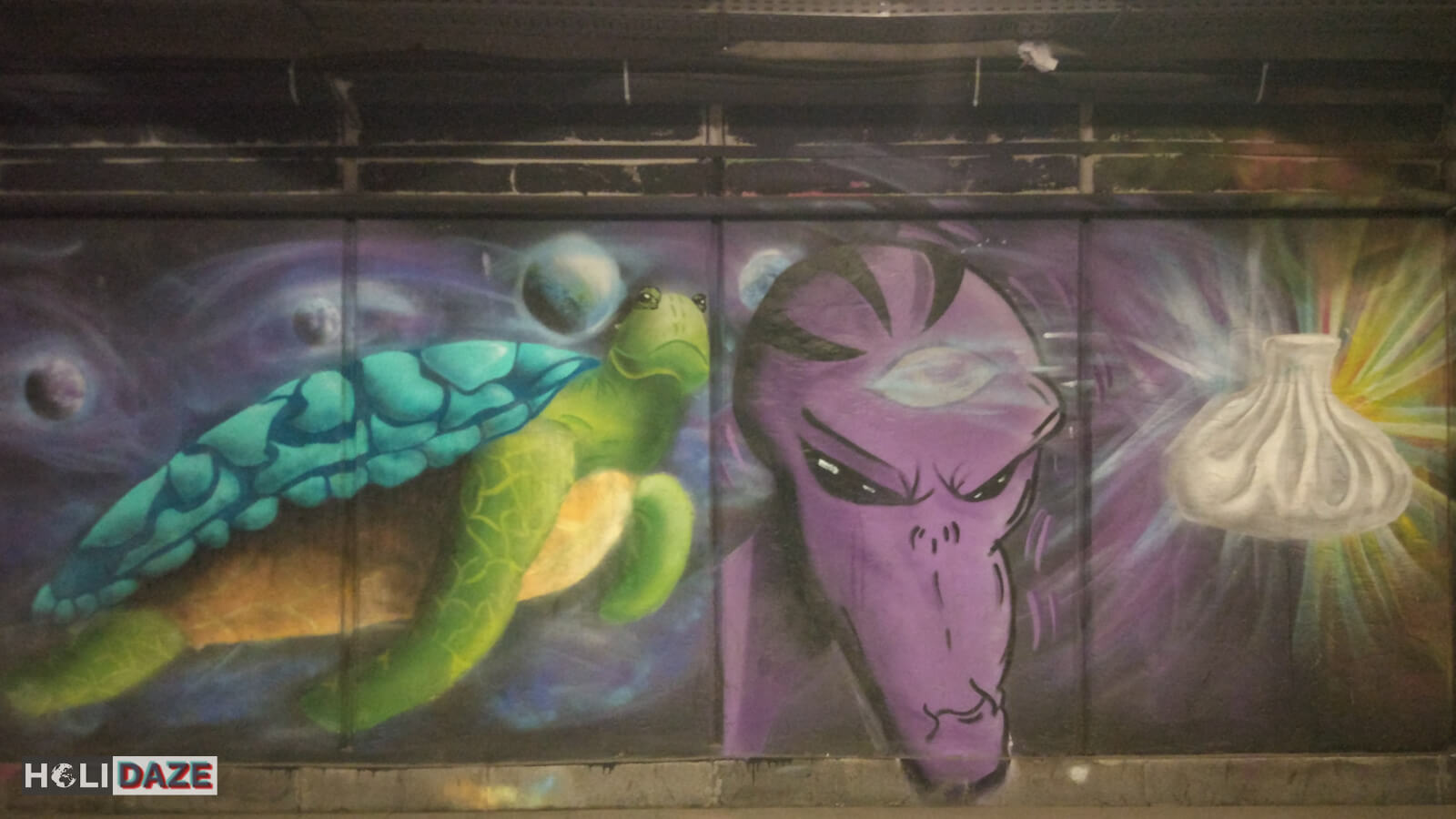 Tbilisi street art featuring turtles and khinkali